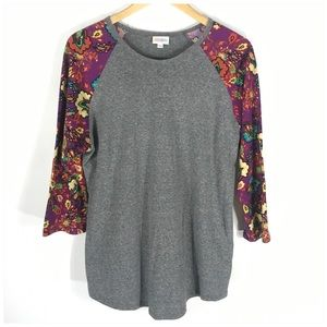 LulaRoe Randy Gray Raglan Tee Floral Sleeves XL